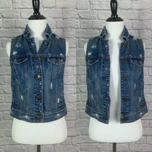 American Eagle Womens Distressed Denim Vest Small